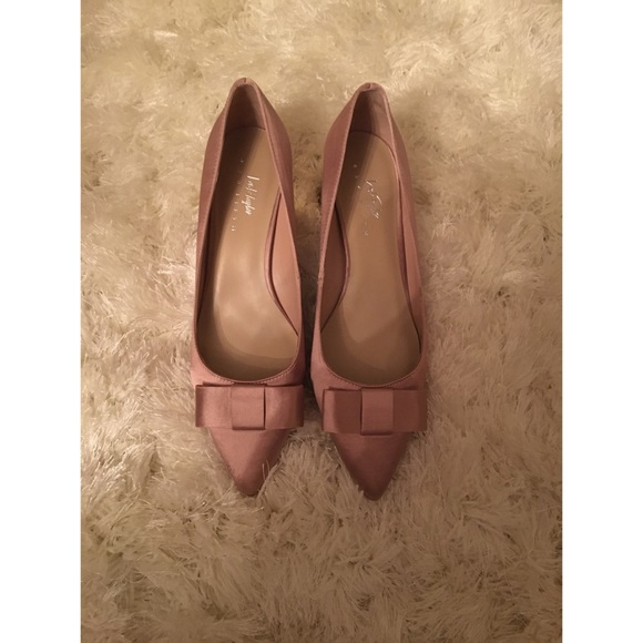 Pink Satin heel with Bow Detail